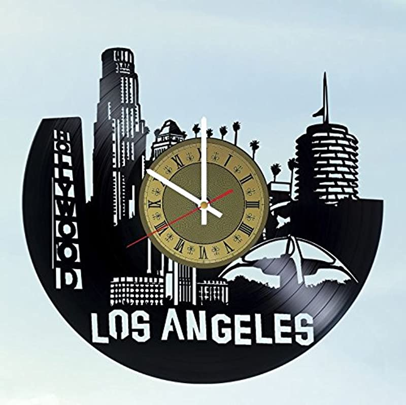 Pieceful Skyline Los Angeles Vinyl Record Wall Clock Artwork Gift Idea For Birthday Christmas Women Men Friends Girlfriend Boyfriend And Teens Living Kids Room Nursery Gold White