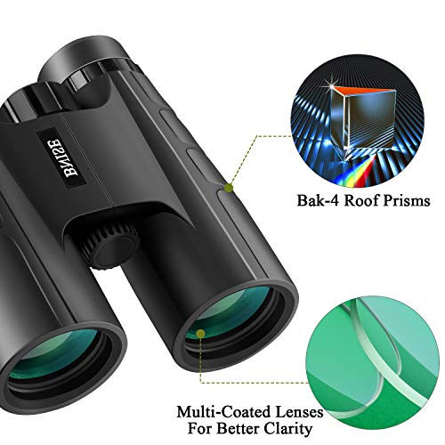 BNISE Binoculars for Adults Bird Watching,10X42 Compact HD Professional, BAK4 Prism FMC Lens, Suitable for Outdoor Travel, Hunting and Concerts, with Smartphone Adapter
