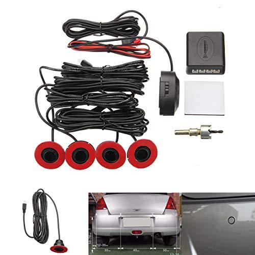 Find Discount Car SUV Parking Sensors 4pcs Adjustable 16mm Flat Sensors Reverse Backup Kit Radar Det...