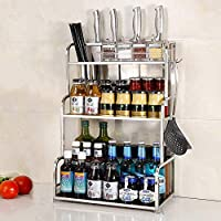食器収納ラック 304ステンレス鋼キッチンラック壁掛け調味料ラック醤油瓶ツールナイフまな板棚3層30長い箸(色:まな板) (Color : No Chopping Board)