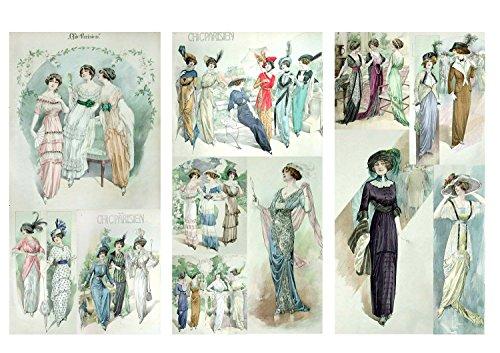 Decoupage Papier Pack (12 blatt A4 / 20x30cm) Chick Parisien Fashion FLONZ Vintage Retro