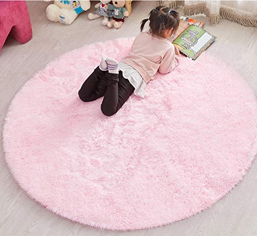 PAGISOFE 4x4 Area Rug Light Pink Round Rug Circle Rugs for Girls Bedroom Fluffy Carpets and Shaggy Rugs Small Teepee Furry Mat Comfy Reading Rug Circular Rug 4x4 Rugs for Kids Baby Nursery Room