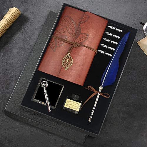 Schreibfeder und Tinte Set, Kalligraphie Set Füllfederhalter Feder Dip Quill Pen schreiben Tinte Set mit 5 Ersatzfedern, Sockel für Stift, Notizblock, Tinte, Geschenkbox (Blau)