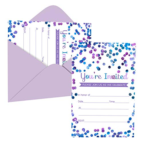 Purple Confetti Invitation and Envelope Pack of 15 – Blank Invite Set for Girls Baby Shower, Birthday, Teens, Kids, Any Event - Abstract Dot Design – Printed 4x6 Size Cards - Paper Clever Party