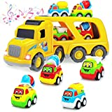 5-IN-1 Construction Truck Toys for 3 4 5 Years Old Toddlers Kids Boys and Girls, Play Vehicles in Friction Powered Carrier Truck ,Small Bulldozer/Cement Mixer/Water Vehicle Gift for Kids Aged 3+