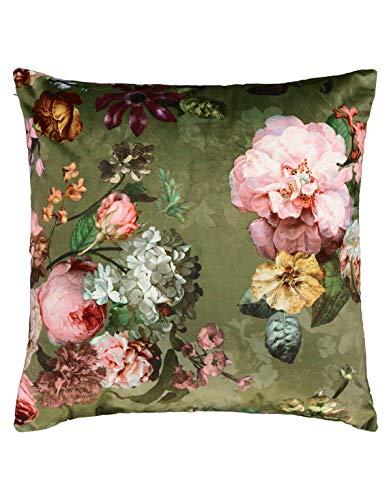 ESSENZA Dekokissen Quadratisch Fleur Blumen Pfingstrosen Tulpen Polyester Grün, 50x50 cm