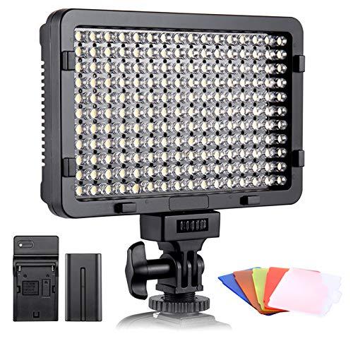 ESDDI LED Fotolicht, Videolicht, 176 LED Super Bright Dimming 3200-5600K, 5 Farbfilter, CRI 95+, Akku mit Ladegerät im Lieferumfang enthalten, Für DSLR-Kameras