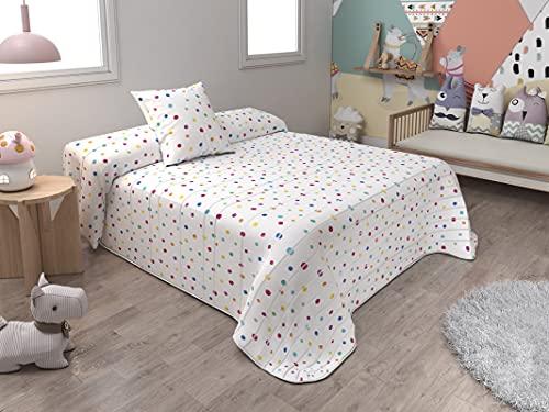 BENEDETTAHOME Colcha Bouti Primavera-Verano Modelo Dots con cuadrante Decorativo. Tamaño para Cama 90-180x260 cm + 1 cuadrante de 50x50 cm.