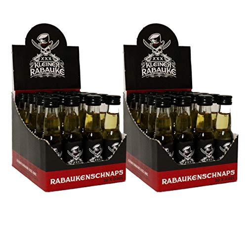 Kleiner Rabauke Premium Schnaps | Likör 2 Boxen 40 x 0,02l Alkohol | verfeinert mit Jamaica Rum | Made in Germany | Shots Gläser - Flaschen als Geschenk und für Longdrinks & Cocktails