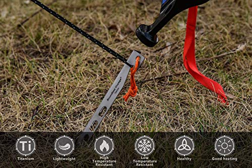 Boundless Voyage Titanium Tent Stakes 20cm/7.8 in. V-Shape Tent Pegs Nails (8-Pack) Outdoor Camping Ultralight Awning Canopy Accessories