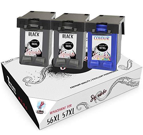 Squuido 3 Remanufactured Cartuchos de Tinta 56 57 compatibles con HP Deskjet 450 450cbi 5150 5550 9680 Officejet 4212 4215 5610 6110 Photosmart 7260 7350 7450 7660 7762 7960 PSC 1210 1215 1315 2110