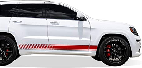 Bubbles Designs Set of Racing Side Stripes Decal Sticker Graphic Compatible with Jeep Grand Cherokee WK2 SRT8