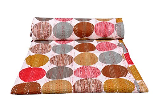 rawyal-stunning Polka Dot wendbar Bunte Kantha Steppdecke, indischen Sari Quilt, recycelten craft, Vintage Kantha Werfen, indischen handgefertigt Decke Gudri Tagesdecke