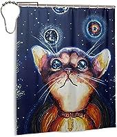 星空の猫のシャワーカーテン、バスルームのカーテンの装飾のためのポリエステル防水ファブリックバスタブセットフック付き60 X72インチ-鉄-ワンサイズ