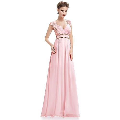 2a3984a793c13 Ever Pretty Women's Elegant V-Neck Floor Length A Line Empire Waist Chiffon  Long Bridesmaid