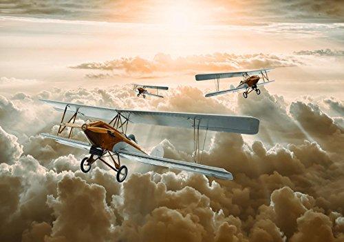 Forwall vliesfotobehang, fotobehang, behang, muurschildering, vlies, wereld-der dromen, vliegtuigen over de wolken, fotobehang, Mural 10605_VE-AW VEL (152,5cm. x 104cm.) beige, wit