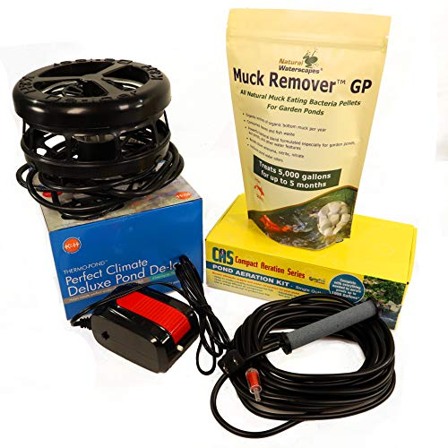 Natural Waterscapes Winter Pond Aerator Deicer Kit for Outdoor Pond up to 1000 gallons   Includes CAS1 Pond Aeration Kit, K&H Deicer 250 watt with Muck Remover GP