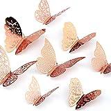 LUTER 36 Pezzi Decalcomanie da Parete Farfalla 3D 3 Dimensioni Adesivi Murali Farfalla Delicato Adesivo da Parete Intagliato, per Camera da Letto Decorazioni per Matrimoni (Oro Rosa)