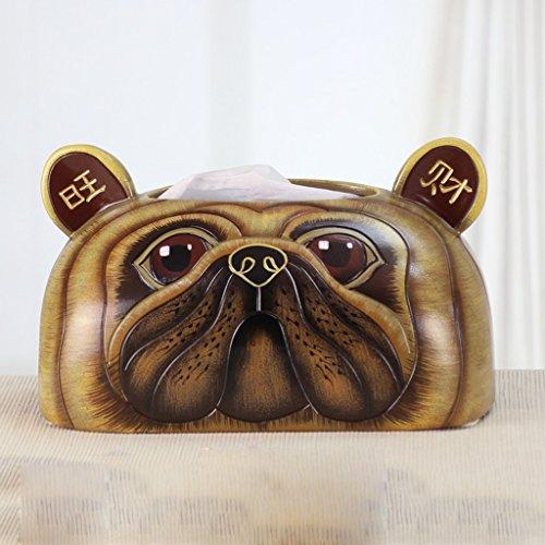 RENJUN Cerámica Caja de Libro Pintado Cachorro Patrón Sala de Estar Mesa de café Caja de pañuelos Estilo Simple Oval 22.4x14.7x13cm Caja de pañuelos