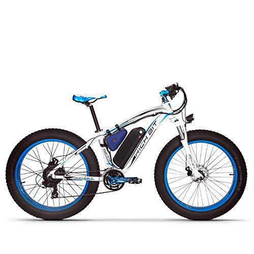 GUOWEI Rich bit RT-022 48V 17AH 1000W Fat Tire Nieve Bicicleta Sin escobillas Motor Playa Montaña Ebike (White-Blue)