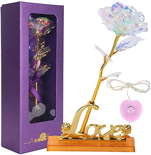 """Price comparison product image ZJchao Color Gold Foil Artificial Rose Flowers with Stand Gift for Her Romantic 10"""" Long Stem Present for Women Valentine's Day,  Anniversary"""