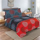 Bettwäsche 2 Teilig, Renforce-Baumwolle, Reißverschluss, 155x220 cm, Rot Grau, Mandala Boho - 2