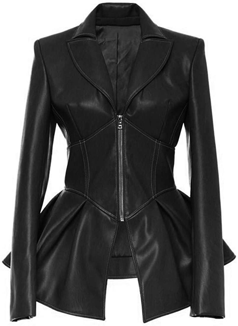 Women's Fashion Perfectly Shaping Zip Up Long Sleeves Faux Leather Biker Jacket
