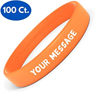 Reminderband Silicone Wristbands - 100 Pack - Personalized Customizable Rubber Bracelets - Customized for Motivation, Events, Gifts, Support, Causes, Fundraisers, Awareness - Men, Women