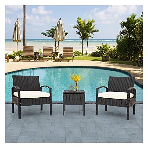 Loungegrupp för trädgården, trädgårdsmöbler, utomhus konstrotting soffa, balkongmöbel set 2 personer, 1 bord och 2 fåtöljer soffbord med förvaringsutrymme för trädgård, balkong och terrass