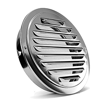 Stainless Steel Air Vents, PartsExtra Louvered Grille Cover Vent Hood Flat Ducting Ventilation Air Vent Wall Air Outlet with Fly Screen Mesh