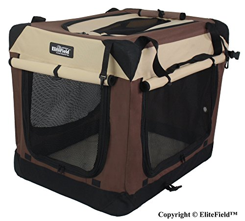 EliteField 3-Door Folding Soft Dog Crate, Indoor & Outdoor Pet Home, Multiple Sizes and Colors...