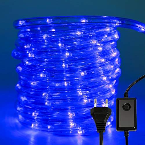 VINGO 10m 240 LEDs Aussen Lichtschlauch,LED Lichterschlauch mit 8 Modi und Timer,IP44 Wasserdicht Lichterschlauch,für Garten Weihnachten Party Hochzeit Dekoration Innen- und Außenbereich (blau)