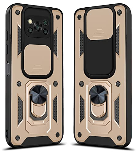 SULIAN Funda para Xiaomi Poco X3 NFC, Doble Capa Ultradelgado Policarbonato + Grado Militar Escudo Protector TPU Suave con Montaje Magnético del Coche - Oro