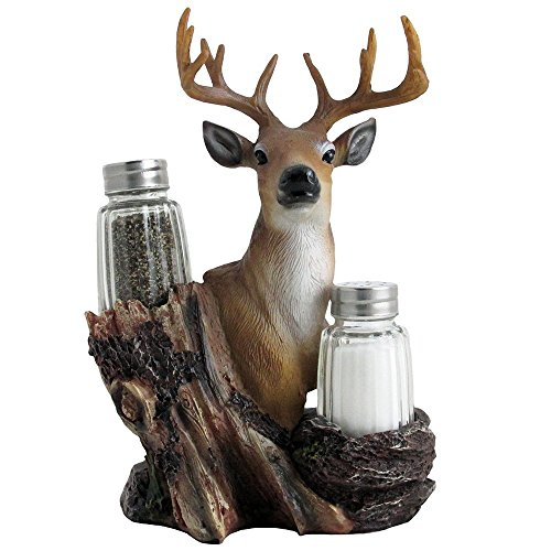 Rustic Deer Glass Salt and Pepper Shaker Set with Decorative Big Buck Holder in Kitchen Spice Racks, Cabin and Hunting Lodge Decor and Gifts for Hunters