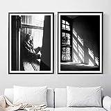 Cqzk Schwarz Weiß Mädchen Fenster Wandkunst Leinwand