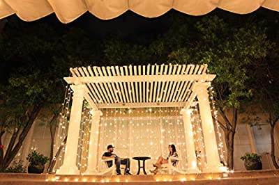 Stay Off The Roof 99-165 String LED Curtain Lights, Twinkle Warm White, 5 X 7 ft - 7 X 10 ft, White Wire, Connect up to 6 Sets for Bedroom, Outdoor, Parties, Weddings
