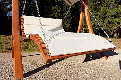 ASS Design Hollywoodliege Hollywoodschaukel Aruba-OD aus Holz Lärche ohne Dach von Farbe:Cremeweiss - 7