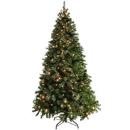 WeRChristmas Árbol de Navidad Verde Esmeralda, Iluminado, Multifuncional, con Luces LED de Color Blanco cálido, Controlador con 8 configuraciones y Ramas con bisagras fáciles de armar, Verde, 2,1 m