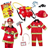 Born Toys Firefighter Costume for Kids w/ Pants & Fireman Toys Includes Backpack Water Gun, Firefighter Hat, Toy Axe, 20 Page Activity Book-Dress Up & Pretend Play as Fireman Costume for Kids Ages 3-7