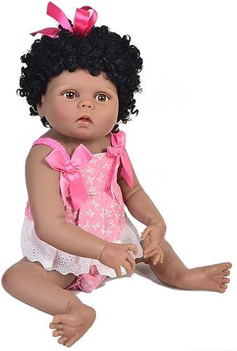HCC 24 Zoll   57 cm afrikanisch SchwarzWiedergeboren Baby mädchen Puppe Herrlich Lockige Haare Realistisch Gewichtet Waschbar Puppe