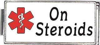 On Steroids White Medical Alert Italian Charm Superlink Bracelet Jewelry Link