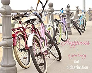 Inspirational Wall Art, Shabby Chic Beach Decor, Happiness Quotes Wall Decor, Happiness Wall Art, Happiness is a Journey Quote Art Print, Beach Cruiser Picture