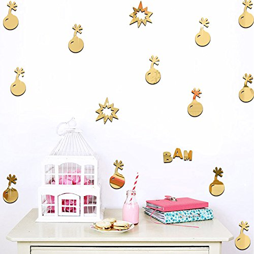 Ufengke 9-Pcs 3D Gold Bomb Mirror Effect Wall Decals,Children's Room Nursery Fashion Design Art Decals Home Decoration