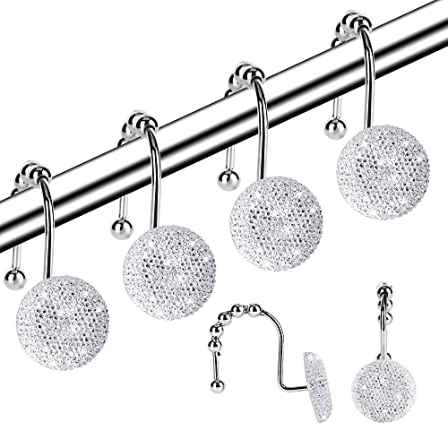 Shower Curtain Hooks, Decorative Shower Curtain Rings, Rust Resistant Metal Bling Acrylic Shower Hooks for Bathroom, Glide Shower Rings for Shower Curtain and Liner, Set of 12, White