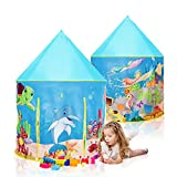 Moncoland Kids Play Tent Toys Children Under Sea World Pattern Large Foldable Playhouse for Indoor and Outdoor Birthday for Girls&Boys Castle Toddler Games with Carry Bag