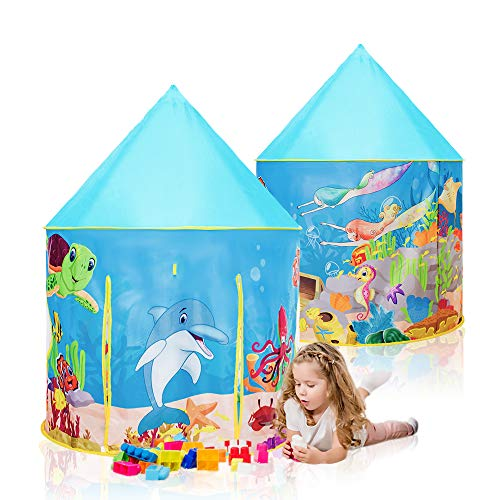 Moncoland Kids Play Tent Toys Children Under Sea World Pattern Large Foldable Playhouse for Indoor...
