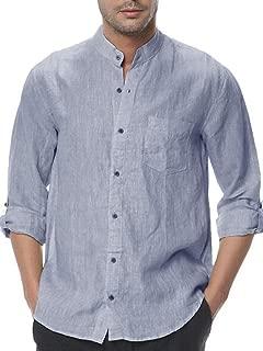 Pengfei Mens Cotton Shirts Mandarin Collar Linen Casual Button Down Long Sleeve Regular Fit Shirts