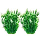 JIH Acuario Plantas de plástico Betta Tanque Decoraciones, Hecho de Plástico Suave 20,3 cm de Altura (Verde 2 piezas)