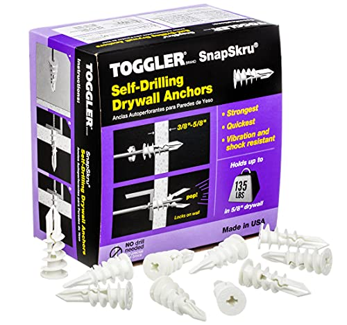 TOGGLER SnapSkru SP Self-Drilling Drywall Anchor, Glass-Filled Nylon, Made in US, For #6 to #10 Fastener Sizes (Pack of 100)
