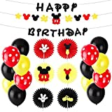 BeYumi Mickey Party Decoration Kit – Mickey Creatures Paper Fans, Happy Birthday Banner and Garland, Colorful Balloons, Mickey Themed Party Ideas for Kids Birthday, Wedding, 1st Birthday